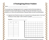Math CCSS Thanksgiving Dinner Problem