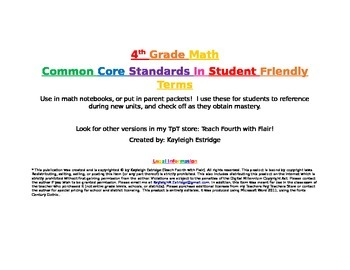 Math CCSS in Student Friendly Terms