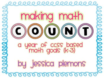 """Math """"COUNT"""" Bulletin Board Headers and Goal Cards K-3 with CCSS"""