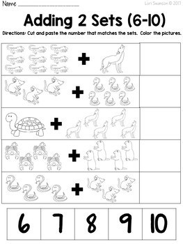 Math- CUT & PASTE- Add 2 Sets- Desert Animals