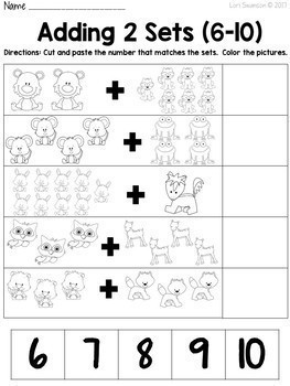 Math- CUT & PASTE- Add 2 Sets- Forest Animals