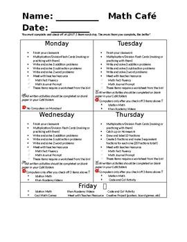 Math Cafe Checklist