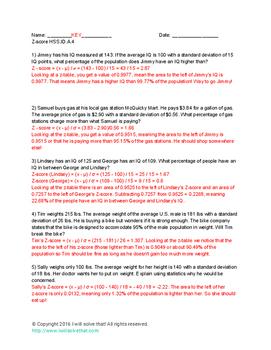 Math Calculating Z-Score HSS.ID.A.4