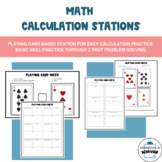 Math Calculation Station with Playing Cards
