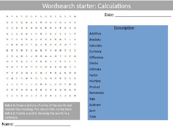 Math Calculations Wordsearch Crossword Anagram Alphabet Keyword Starter Cover