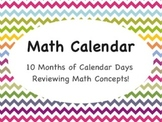 Interactive Math Calendar - 10 Months of Math Themed Calen
