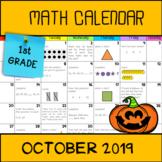Math Calendar 1st grade (October 2019)