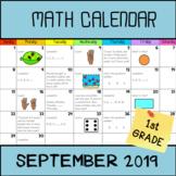 Math Calendar 1st grade (september 2019)