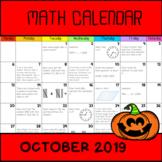 Math Calendar 2019! (october 2019)