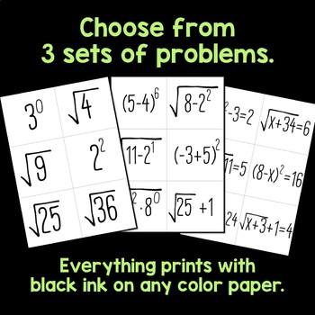 Math Calendar Bulletin Board, Exponents & Roots