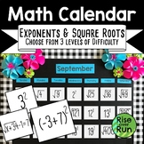Math Calendar Bulletin Board with Exponents and Square Roots