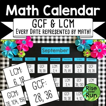 Math Calendar Classroom Decor, GCF and LCM