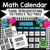 Math Calendar Elementary Ten Frames and Tally Marks
