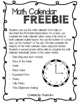 Math Calendar Freebie