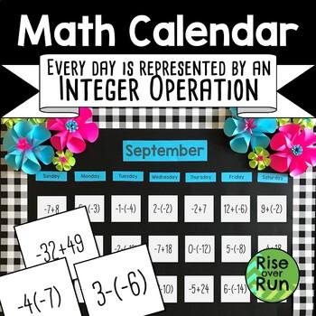 Math Calendar Integer Operations