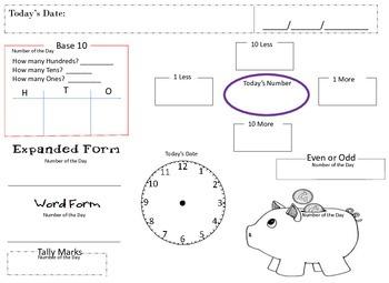 Math Calendar Student Recording Sheet