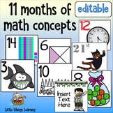A Year of Math Calendar Tiles for K to 2nd grade + editable holiday tiles