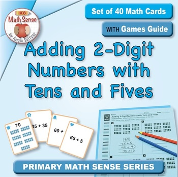 Adding 2-Digit Numbers with Tens & Fives: 40 Math Matching Game Cards 1B