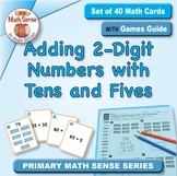 Adding 2-Digit Numbers with Tens & Fives: 40 Math Matching Game Cards 1B34