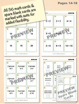 Even Numbers as Equal Addends: 40 Math Matching Game Cards 2A32