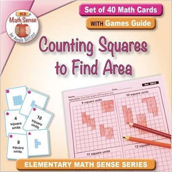 Counting Squares to Find Area: 40 Math Matching Game Cards 3M