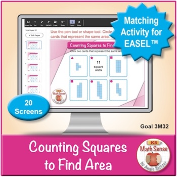 Counting Squares to Find Area: 40 Math Matching Game Cards 3M32