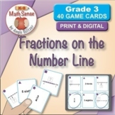 Fractions on the Number Line: Math Matching Game Cards 3F {Print & Digital}