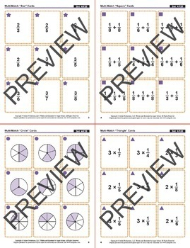 Decomposing Fractions: 40 Math Matching Game Cards 4F25