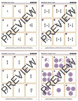 Multi-Match Game Cards 4F: Mixed Numbers and Fractions: Thirds