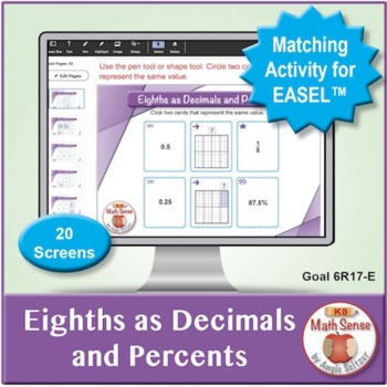 Multi-Match Game Cards 6R: Eighths as Decimals and Percents