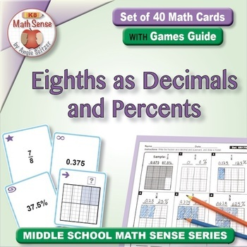 Eighths as Decimals and Percents: 40 Math Matching Game Cards 6R17