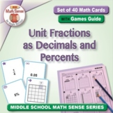 Unit Fractions as Decimals and Percents: 40 Math Matching Game Cards 6R