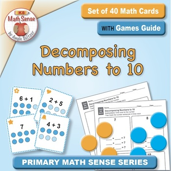 Decomposing Numbers to 10: 40 Math Matching Game Cards KA16