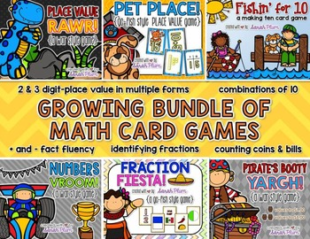 Growing Math Card Game Bundle {Place Value, Number Sense, Fractions, & Money}