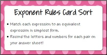 Exponent Rules Card Sort - Math Centers