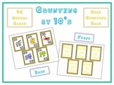 Math Card Game - Skip Count by 10s - Animal Version - Front and Back of Card