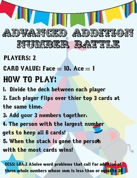 Math Fluency Card Games - Common Core CCSS Aligned for 1st Grade!