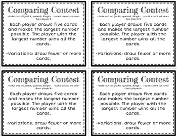 Math Card Games for the Classroom