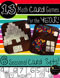 Math Card Games Center for the Year Activities Addition, Subtraction, Counting