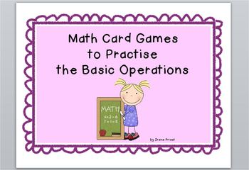 Math Card Games to Practise the Basic Operations - English and French