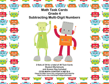 Math Cards Grade 4 Subtracting Multi-Digit Whole Numbers CCSS 4.NBT.B.4 Robot