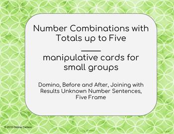 Math Cards - Number Combinations with Totals up to Five
