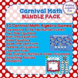 Math Carnival Game Pack (10 Games) Algebra Equations, Slope, Probability, etc.
