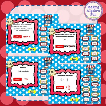 Math Carnival Game Topic Algebra:  Expressions & Real Number System