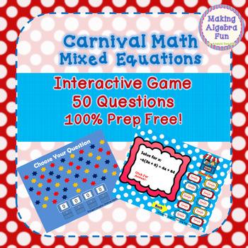 Math Carnival Game Topic Algebra: Mixed Equations