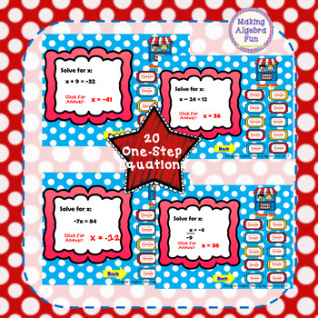 Math Carnival Game Topic Algebra:  One Step Equations