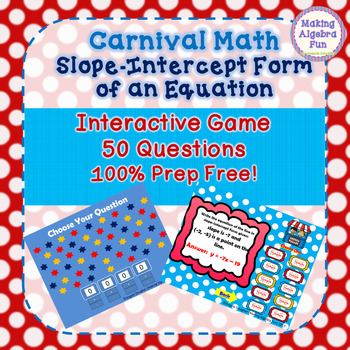 Math Carnival Game Topic Algebra: Slope-Intercept Form of an Equation