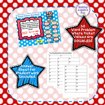 Math Carnival Game Topic Algebra: Two Step Equations