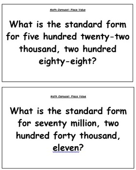 Math Carousel: Place Value