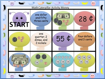 Math Caterpillar Money Matching Game CCSS 2.MD.8